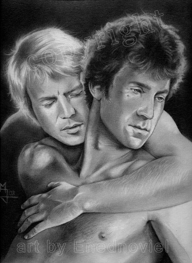 Hutch embraces Starsky from behind while Starsky looks             away